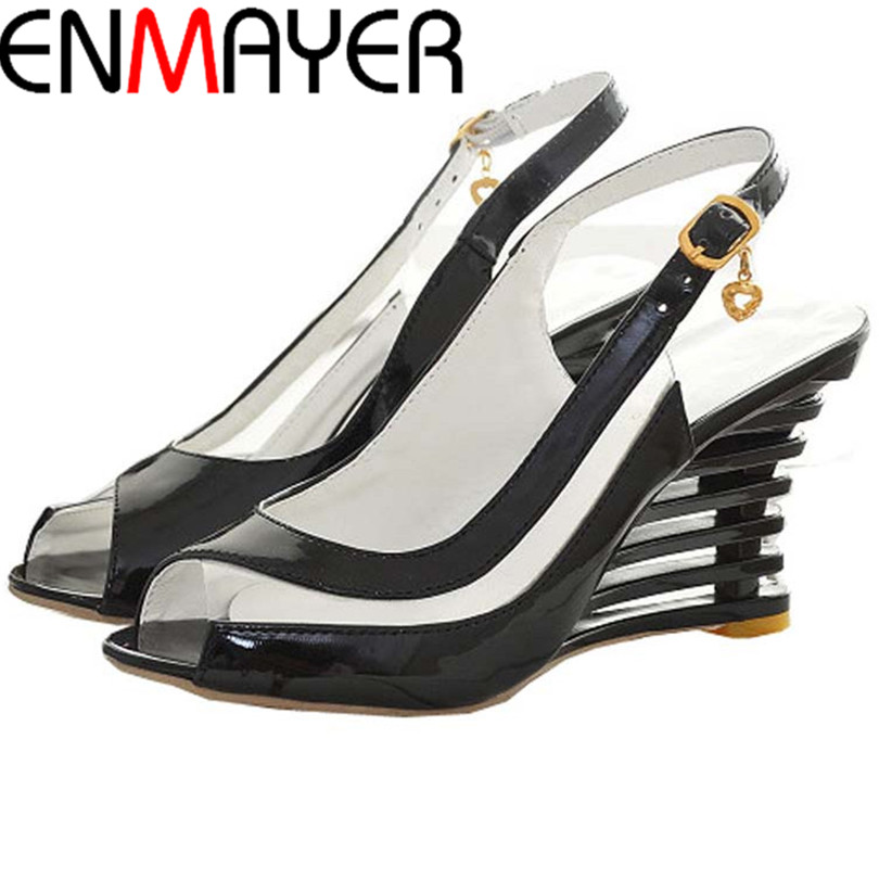 ENMAYER High Wedge Heel Sandals Buckle Style Open Toe Transparent Shoes Women Summer Shoes Patent PU Sexy Summer New Shoes Women<br><br>Aliexpress