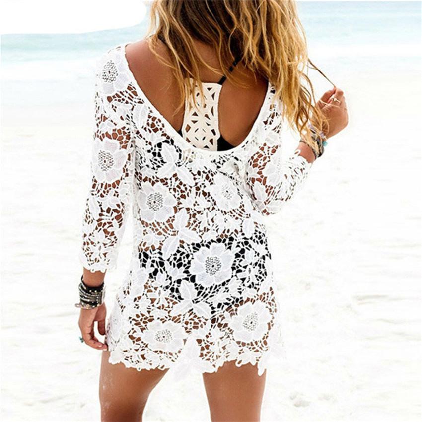 Plus Bikini Cover Up Lace Hollow Crochet Swimsuit Beach Dress Women 2017 Summer Ladies Cover-Ups Bathing Suit Beach Wear Tunic