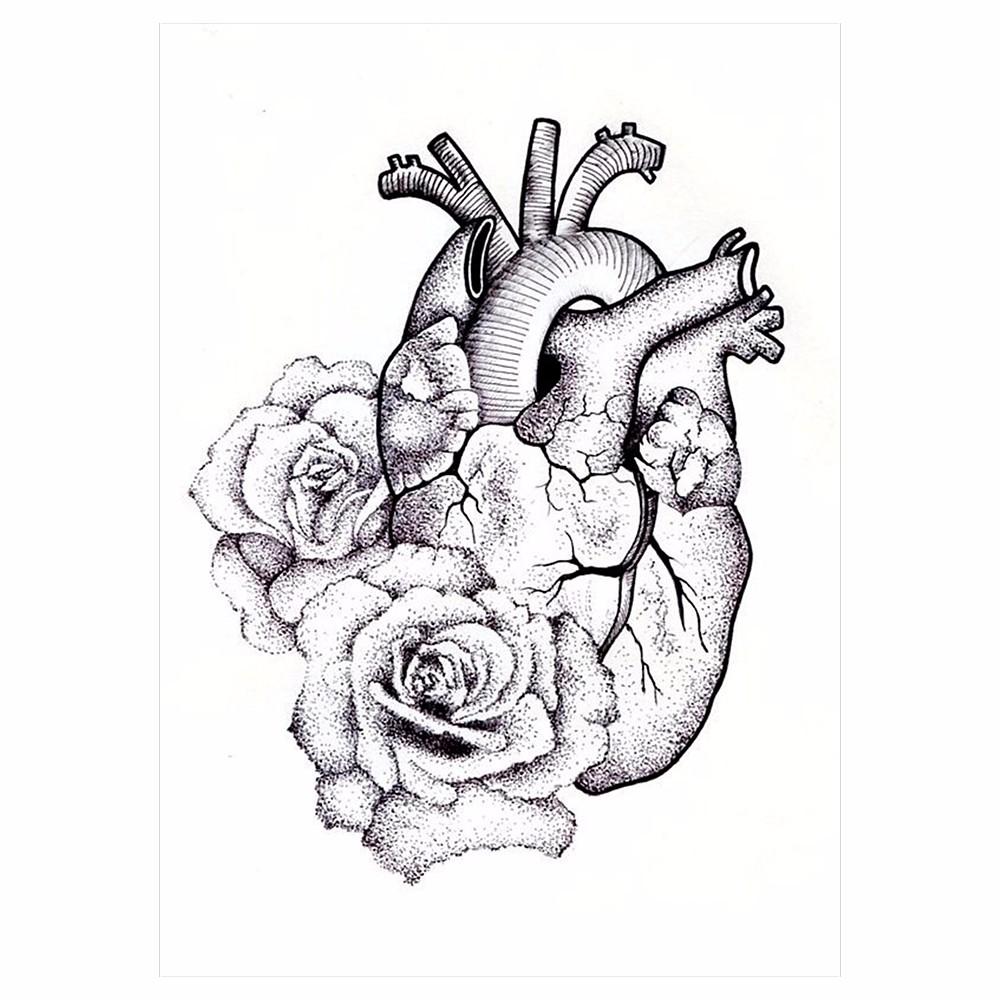 1pc Temporary Body Art Tattoo Sticker KM-064 Fake Sketch Heart Rose Flower Decal Pattern Design Waterproof Tattoo for Cool Women (2)