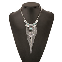 New Retro Alloy Long Tassels Maxi Colar Necklace Carved Sequins Collier Plastron Gros Femme 2015 Alloy Rhinestone Necklaces(China (Mainland))