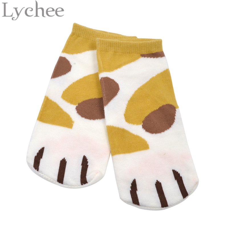 Lychee 1 pair Cute Cat Claw Print Short Ankle Socks Kawaii Cat Paws Sock Slippers Anime Neko Atsume Cosplay Sockings Props