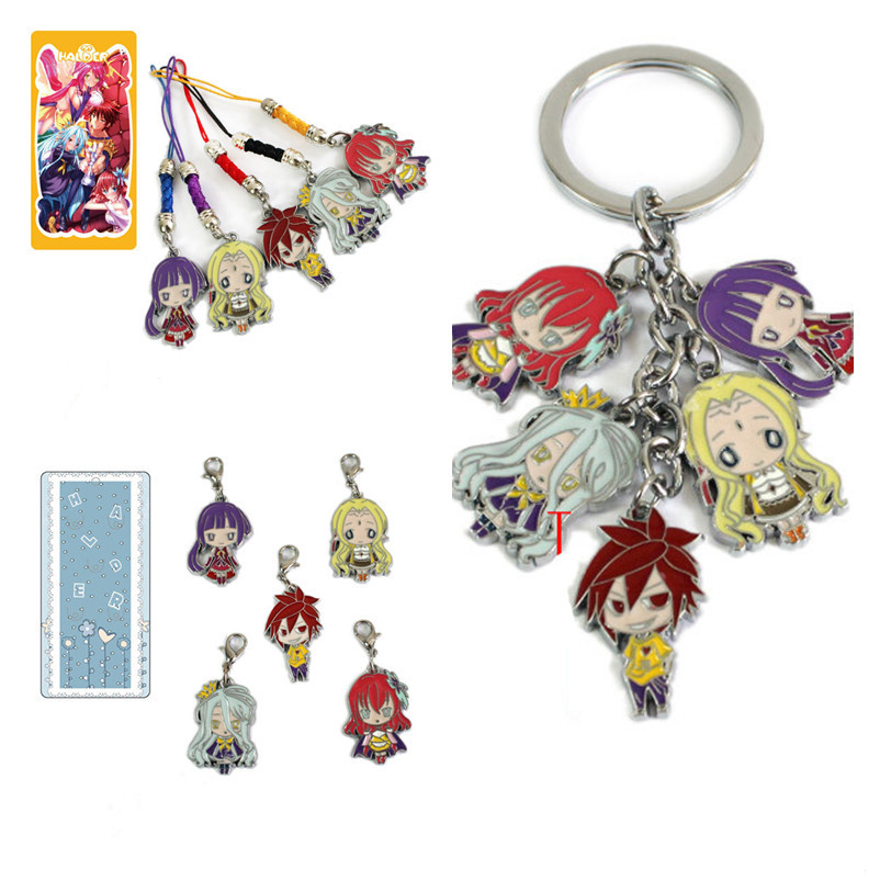 No Game No Life Keychains Metal Figures Pendants Key Ring Phone rope hanging lobster clasp Anime Cartoon10PCS/LOT