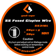 100% Original 10ft GeekVape Fused Clapton SS316 Tape Wire (26GA*2/Paralleled + 30GA)Electronic Cigarette