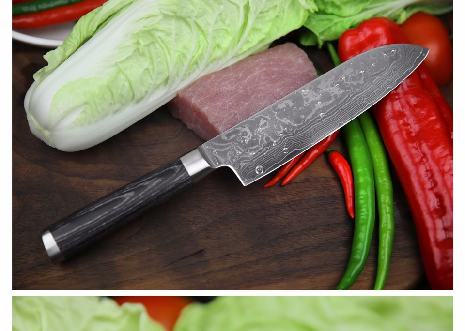 Buy XINZUO 7inch chef knife 67 layer China Damascus stainless steel kitchen knife santoku knife with Pakka wood handle free shipping cheap