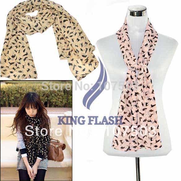 Holiday Sale New Fashion Chiffon Colorful Sweet Cat Pattern Women's Long Scarf Neck Wrap Shawl Free Shipping 9336(China (Mainland))