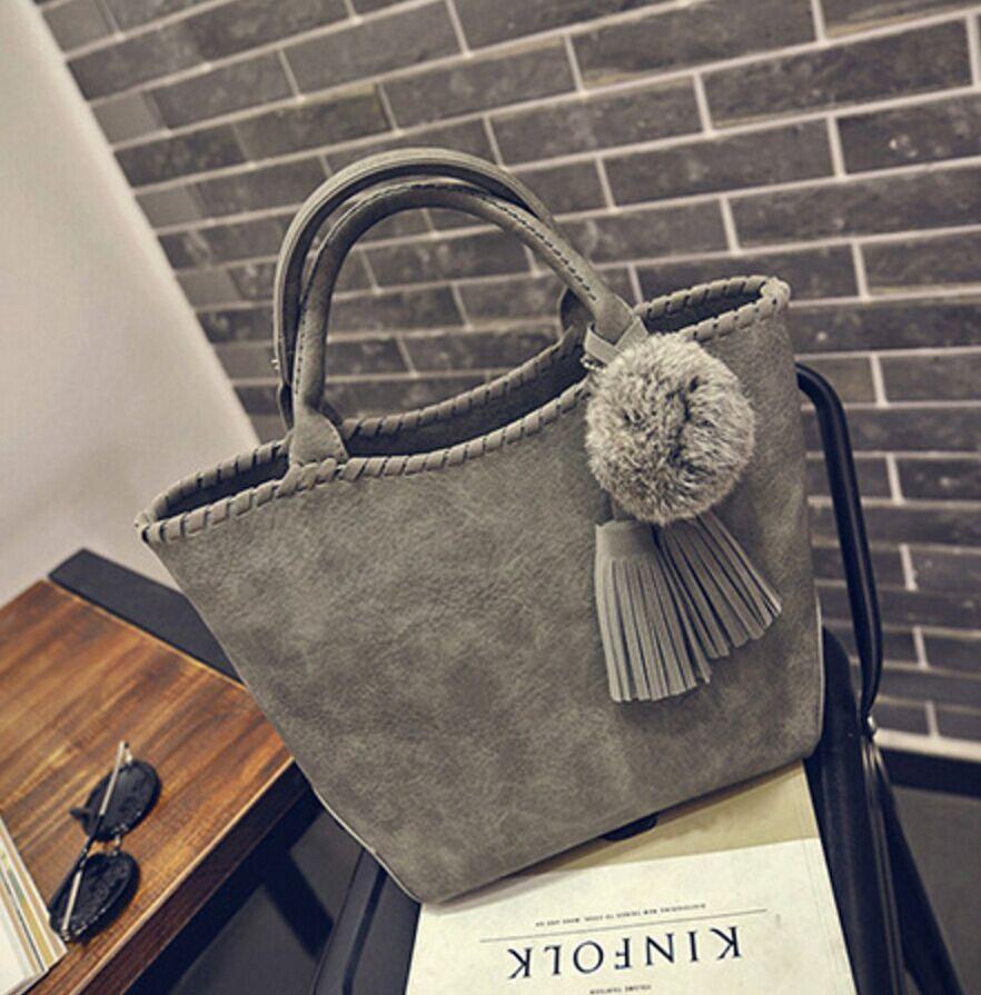 2016 hot new fur ball bucket bag Korean version trend  women bag simple retro handbag fashion leisure shoulder bag free shipping<br><br>Aliexpress