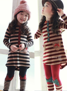 Big sale spring autumn female child stripe clothing girls outfit two piece set top& pants set thin/velvet 3-10 yrs free shipping