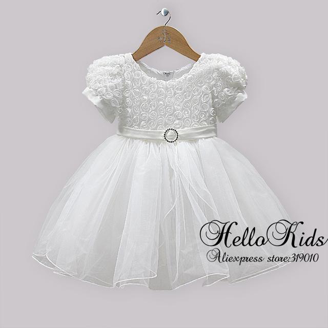 Children Christmas Party Dresses Kids White Gauze And Lace Rose Dress Fashion Dress For Infant Flower Kids Wear Hot Seller