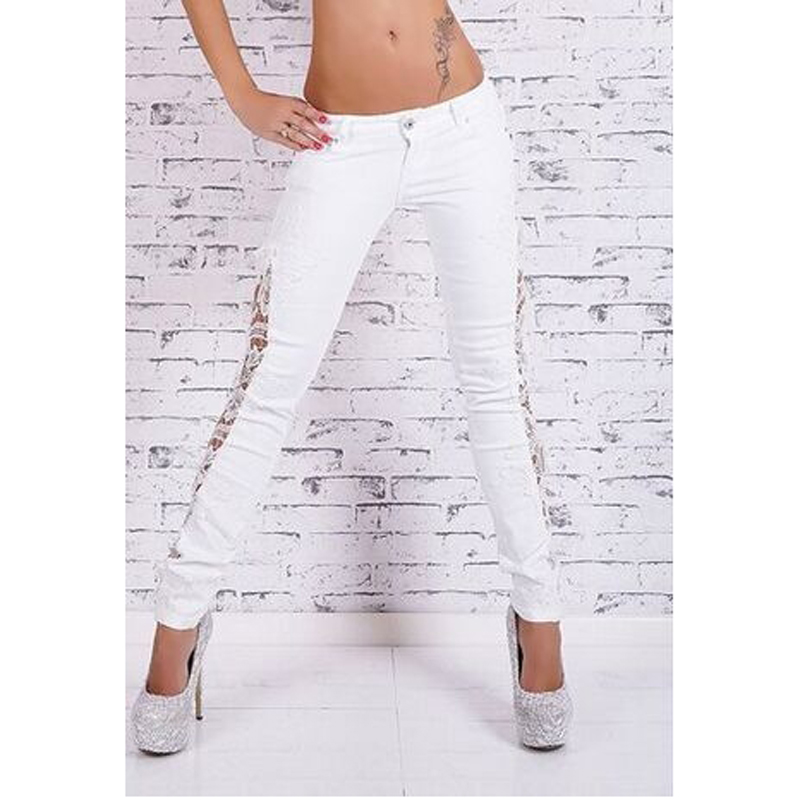Fashion Lace Patchwork Cotton White Jeans Pants Sexy Stylish Full Length Low Waist Comfortable Unique NewОдежда и ак�е��уары<br><br><br>Aliexpress