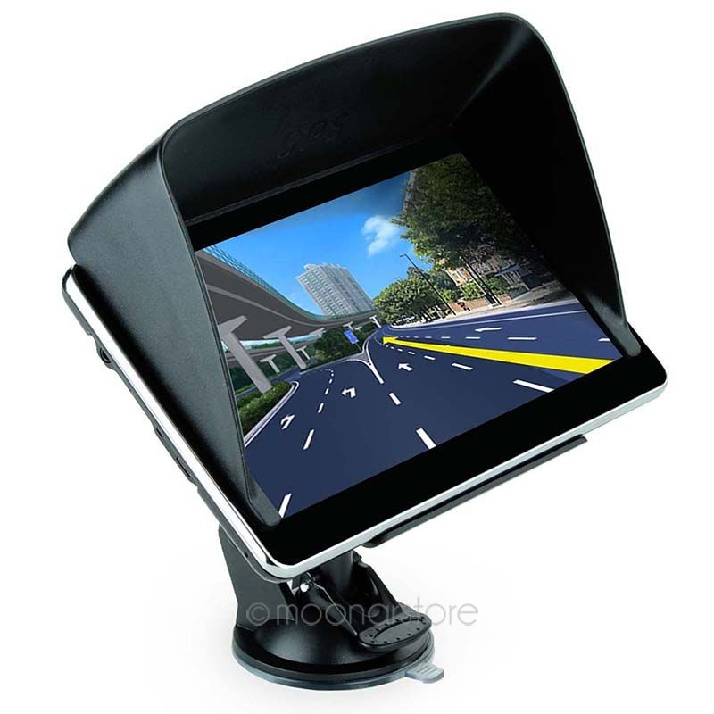 Hight Quality 7 inch Car GPS Truck Navigation MTK 4GB Capacity UK EU AU NZ Maps Speedcam POI with Sunshade