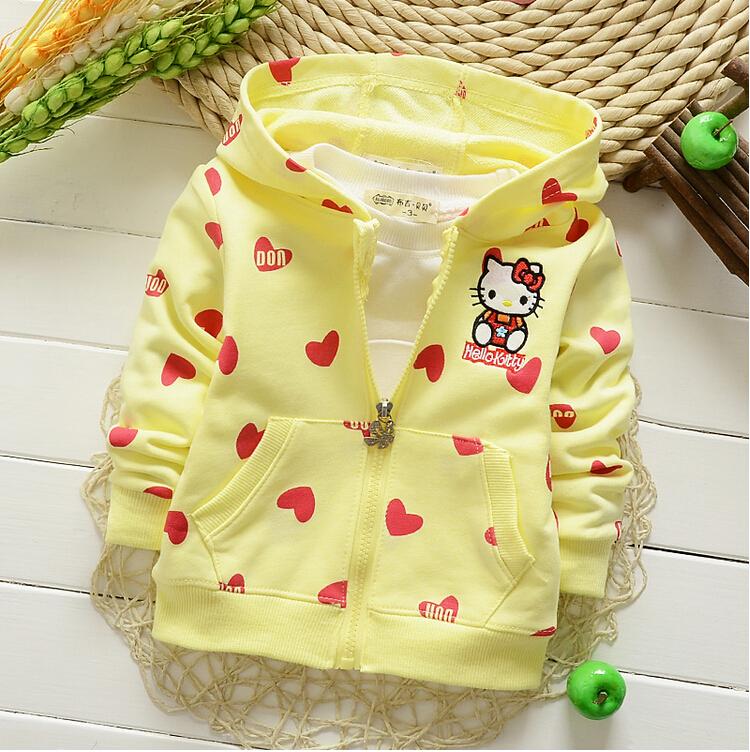New 2015 Free Shipping Girls Autumn Baby Cardigan Coat Cartoon Hello Kitty Sweatshirt Hoodies Children Clothing Baby Sweater(China (Mainland))