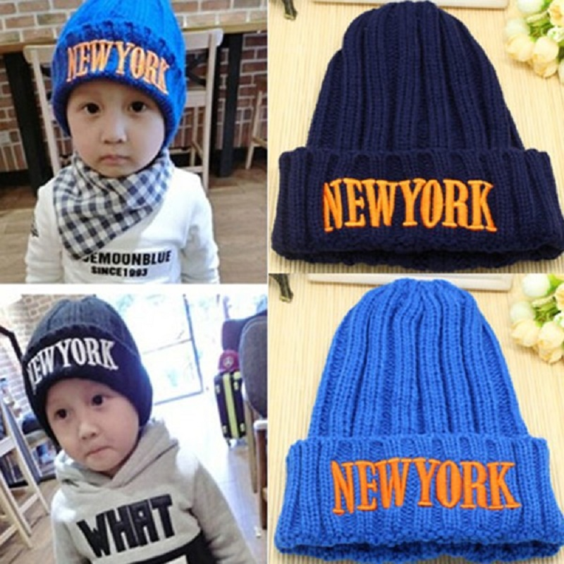 Baby Caps Knitted Letter New York Baby Hats For Boys Girls Children's Winter Caps Child Kids Beanie Hats(China (Mainland))