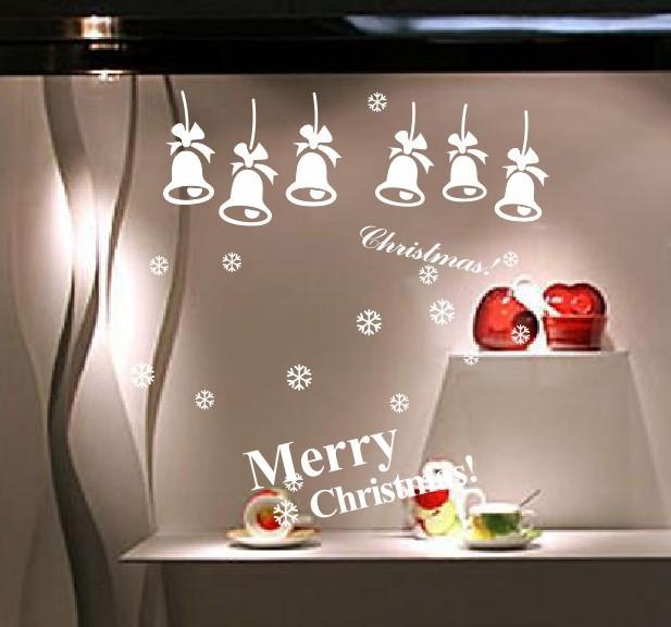 Рождество стикер стены поделок новогодние 01 белл праздник новый год украшения термоаппликации съемный фреска деко окна винил дома