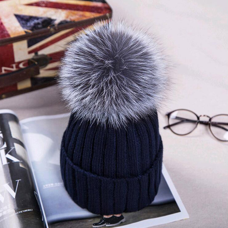mink and fox fur ball cap pom poms winter hat for women girl 's wool hat knitted cotton beanies cap brand new thick female cap(China (Mainland))
