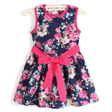 summer dress 2017 girl dress new free shipping for 3-11 age bow floral Girls Princess Party Bow Kids Formal Dress 23(China (Mainland))