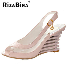 Women High Heel Sandals Fashion Lady Gladiator Patent Leather Wedges Peep Open Toe Summer Sandals Female Shoes P3319 Size 34-39