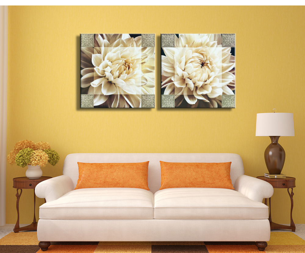 Canvas painting of white flower, abstract, spray painting,two pieces combination, wall art picture, for home decoration(China (Mainland))