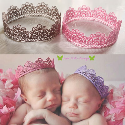Baby Lace Crown Photo Prop Girl Queen Princess Birthday Crown, Newborn Tiara newborn photography props hair accesorries - Choco honey store