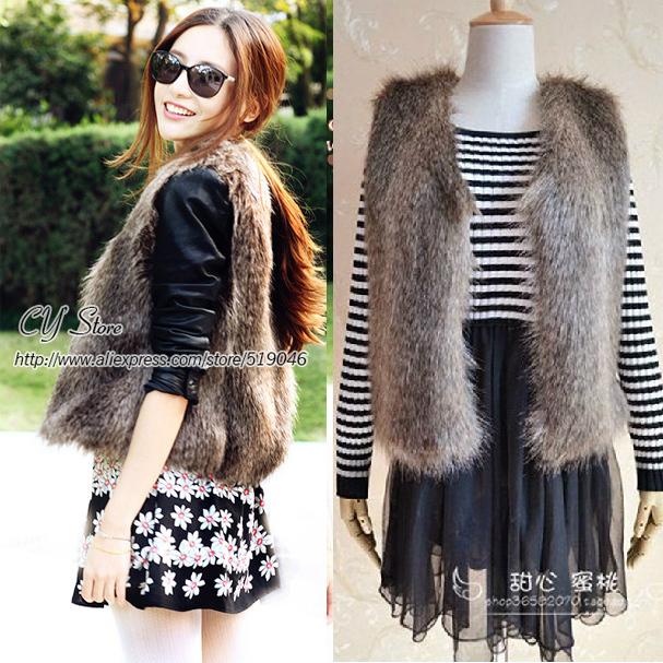Autumn & Winter Women's Faux fox fur Vest short Style V-collar False Fur Vest Free Shipping