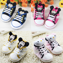 11-13cm 0-1 Year Old Baby girls boy shoes high cute cartoon kitty mickey kids shoes(China (Mainland))