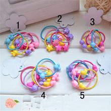 TS 50pcs High Quality Carton Round Ball Kids Elastic Hair bands Elastic Hair Tie Children Rubber Hair Band