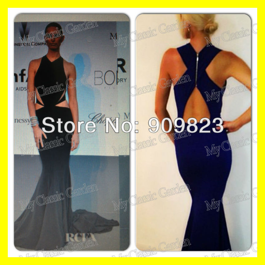 Best Celebrity Wedding Guest Dresses Halter Off The Shoulder Sleeveless Built-In Bra Draped Trumpet /Mermaid Floor-Length Polyes(China (Mainland))