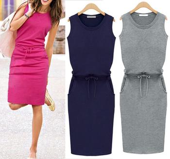 New 2015 Summer Autumn Fashion Women Sleeveless Cotton Slim Dresses Pockets With Belt Pencil Casual Female sexy Dress J2218
