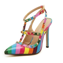 Women Pumps 2015 Fashion High Heels Brand Designer Shoes Woman Sandals Rainbow Colors Rivets Shoes Summer Style Sapato Feminino(China (Mainland))