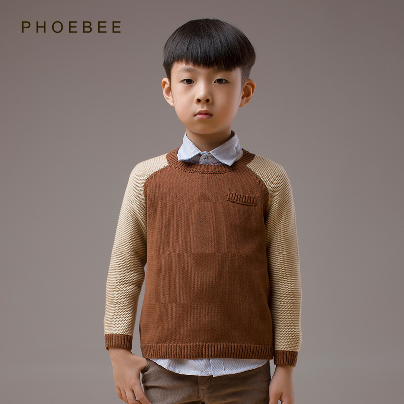 2015 new brand phoebee Fashion kids Warm sweater O-Neck Hand Knitted Pullovers brown boy  Childrens Clothing woolly infantil<br><br>Aliexpress