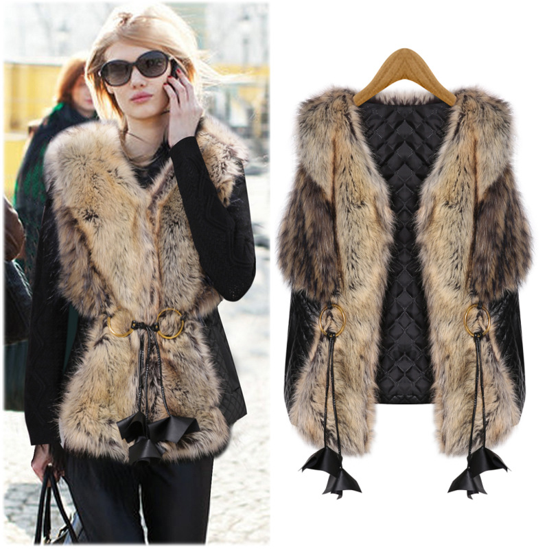 Europe and America 2015 Winter New Fashion Women faux fur vest Patchwork PU Leather Overcoat Short Vest Fur Faux Fur Gilet(China (Mainland))