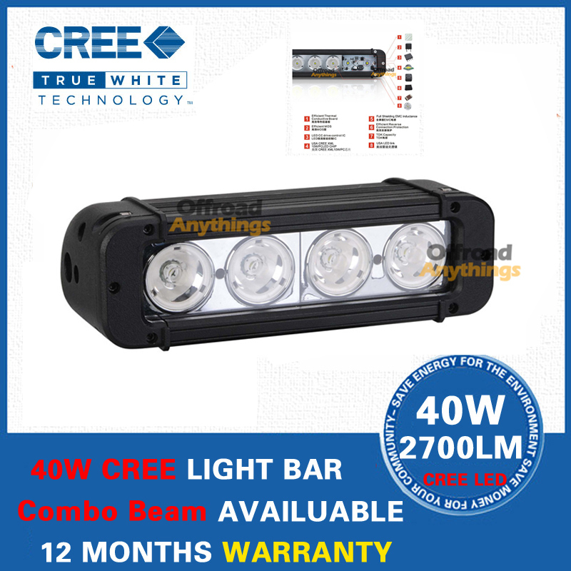 8Inch 40W CREE LED Work Light Bar Spot Flood Beam 4WD Boat UTE Driving - 4x4 Auto Lamp Store store