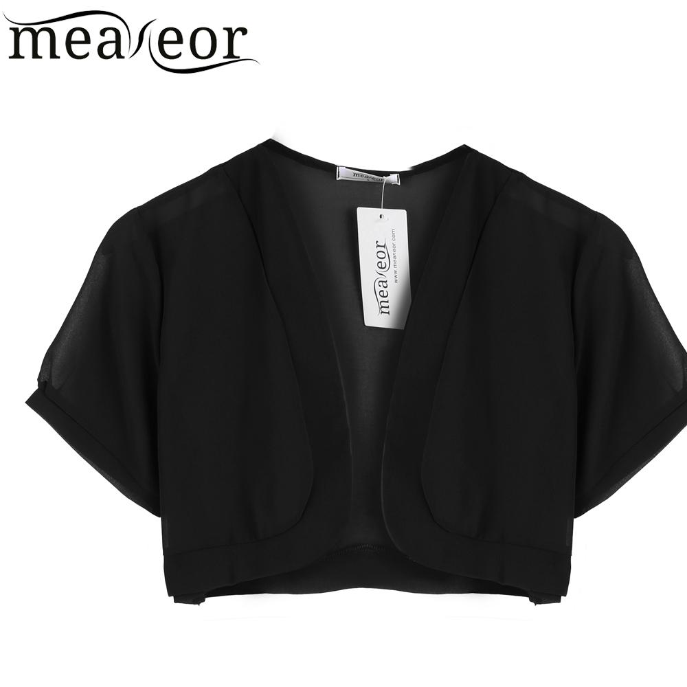 Meaneor Brand Women Summer Coat Sheer Chiffon Short Sleeve Jacket Cropped Bolero Perspective Cardigan Top Size L XL XXL XXXL(China (Mainland))