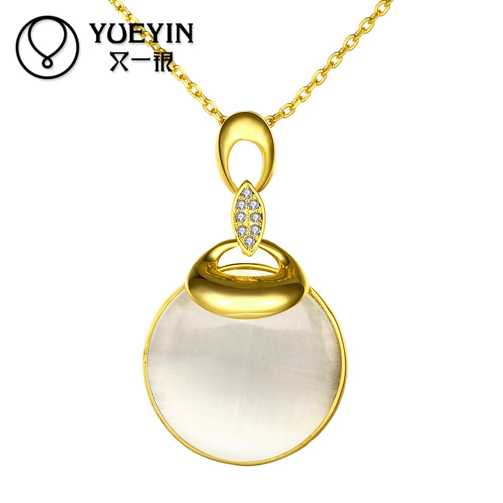 New Arrival Fantasy round Opal pendant necklace 18K gold Plated inlaid CZ Diamond necklace jewelry for women 3 colors(China (Mainland))