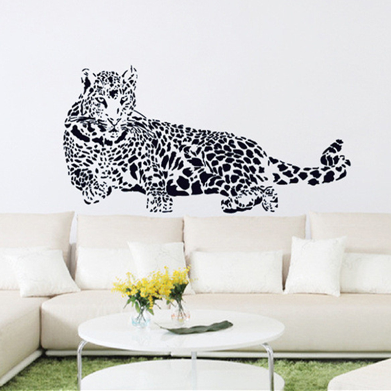 Black Pvc Wall Stickers Cheetah Leopard 3d Removable Wall Decals Home Decor Stickers Free