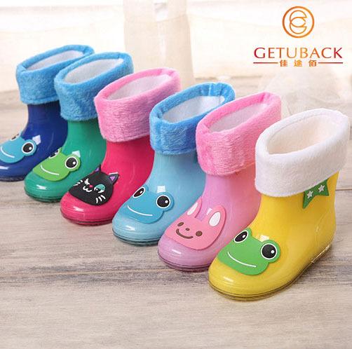 2015 New Kids Cartoon Rainboots Brand Children Antiskid Wellies Girls Boys Rainboots with Removable Cotton Velvet