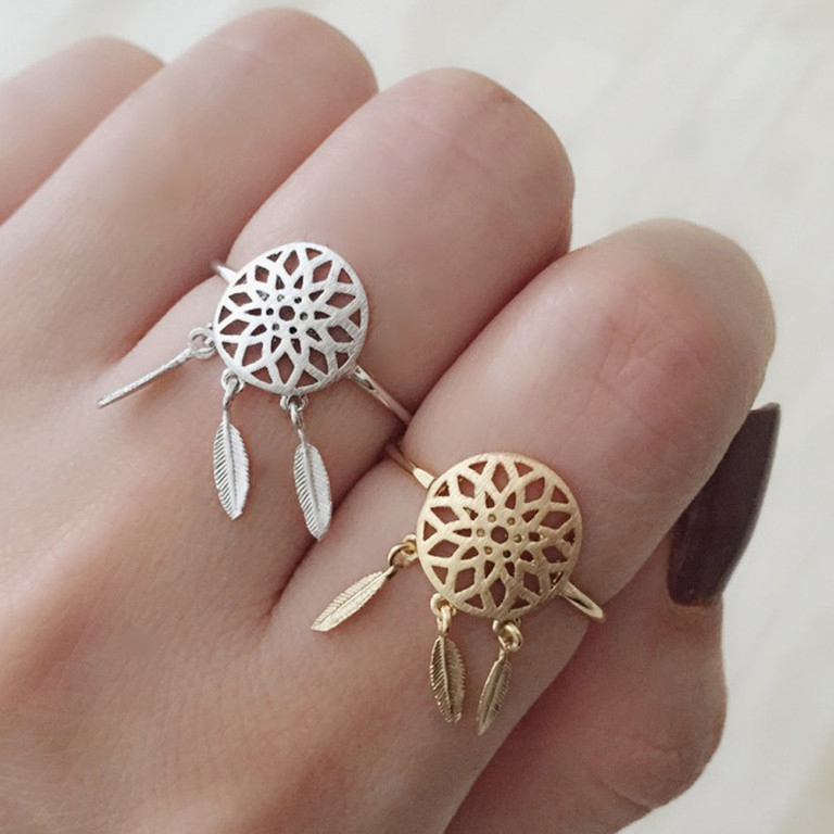 Dreamcatcher Ring 2015 Hot Sale Women Gold And Silver Dream Catcher Rings Feather Charm Pendant Dream Catcher Wish(China (Mainland))