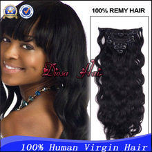 New Virgin Human Hair Brazilian Body Wave Clip In Extensions 7pcs/set 70g 80g 100g Strong Weft For Black Women Free Shiping(China (Mainland))