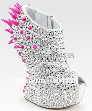 Brand Sexy No Heel Women Pumps Crystal Rhinestone Peep Toe Women Wedding Shoes  Rivets Spike Wedges Gold Silver Boots 35-42