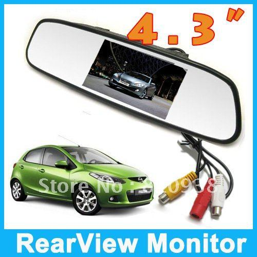 "1Pcs New4.3"" Inch TFT Car LCD Rear View Rearview DVD Mirror Monitor , Free shipping"