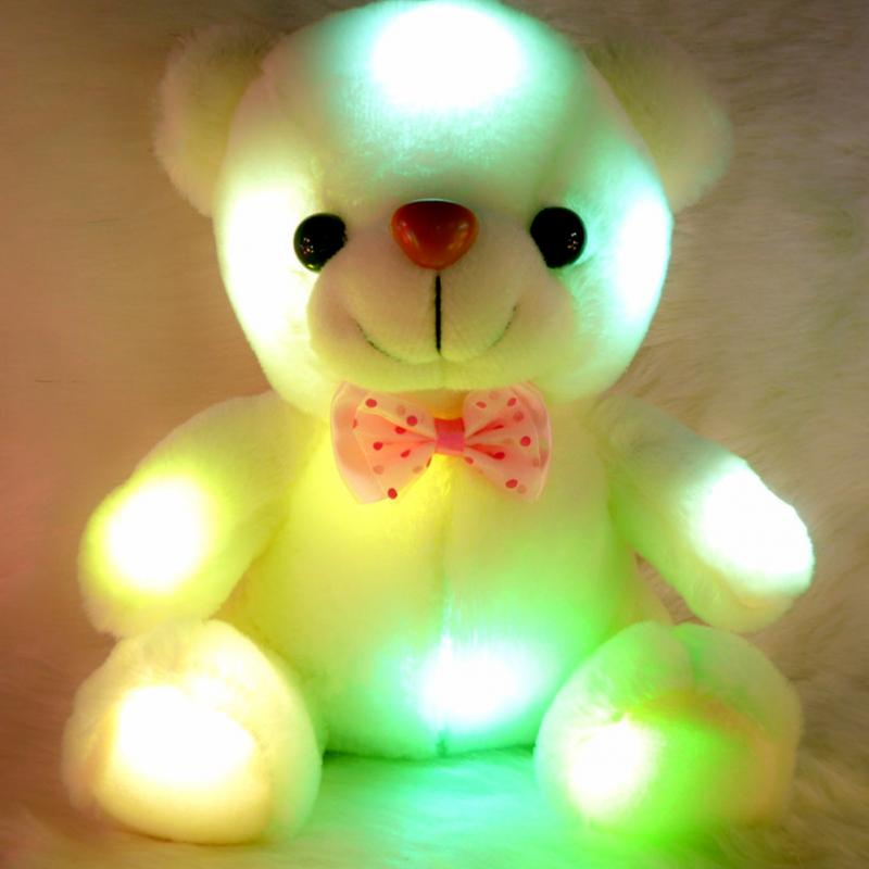 Colorful LED Flash Light Bear Doll Plush Stuffed Toys Creative Bear Gift For Children Christmas Gift Stuffed & Plush #45(China (Mainland))