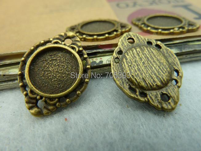 UC3127 40pcs/lot Antique Bronze Metal Alloy 10mm Cabochon Pendant Settings Jewelry Pendant Blanks Fit Photo Jewelry accessories(China (Mainland))