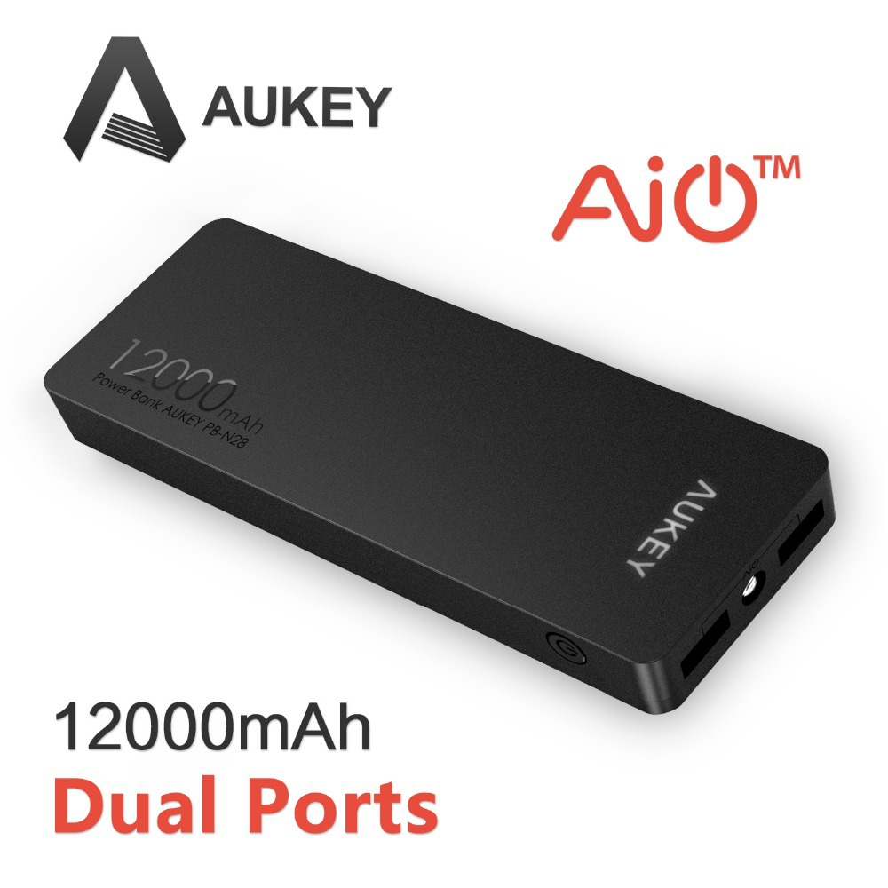 Aukey 12000mAh Portable Power Bank Charger External Battery Pack with AIPower Tech for Apple Android and USB Powered Devices HTC(China (Mainland))