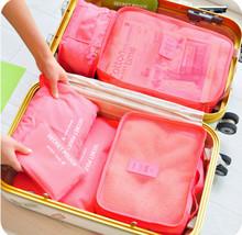 6pcs/set Fashion Double Zipper Waterproof Polyester Men and Women Luggage Travel Bags(China (Mainland))