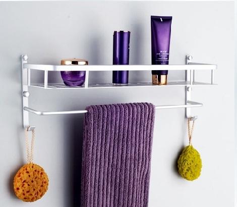 Free shipping aluminum Bathroom shelf single tier bath shower caddy for storage with hook bathroom accessories