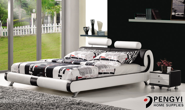 modern leather bed py-711(China (Mainland))