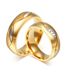 High Quality Couple Rings for Women Men Cubic Zirconia Wedding Ring18K Gold Plated Wedding Rings Stainless Steel Female Jewelry(China (Mainland))