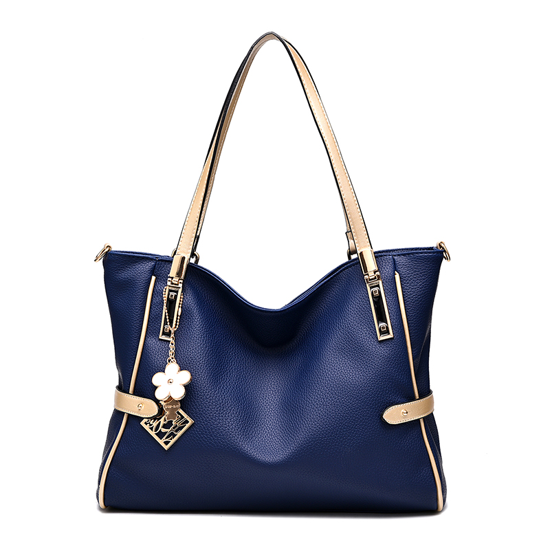 2016 new European and American fashion women handbag soft. Solid metal rings shoulder bag. Large capacity messenger bag.35*27*13(China (Mainland))
