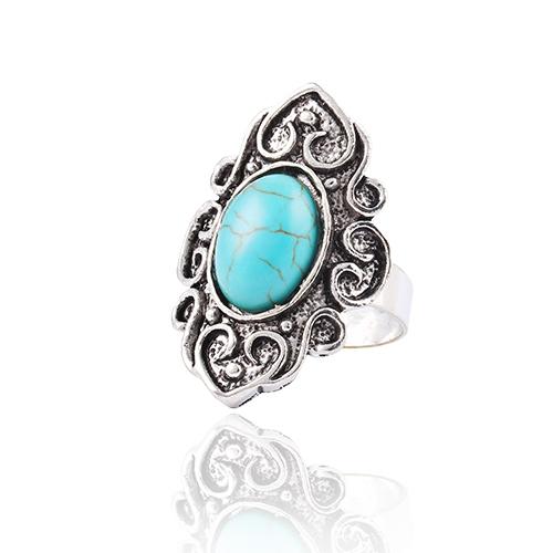 New Design Brand Fashion Wedding jewelry Retro Flower Ring Nation Bohemian style Turquoise Ring jewelry for women WholesaleLS52(China (Mainland))