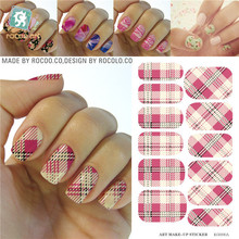 Water Transfer Pink Yellow Tartan Design Nails Stickers Manicure Styling Tools Water Film Paper Decals