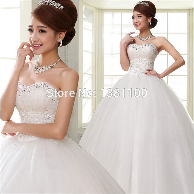 2014 new lace up strapless heart shaped diamond full long for Heart shaped wedding dress